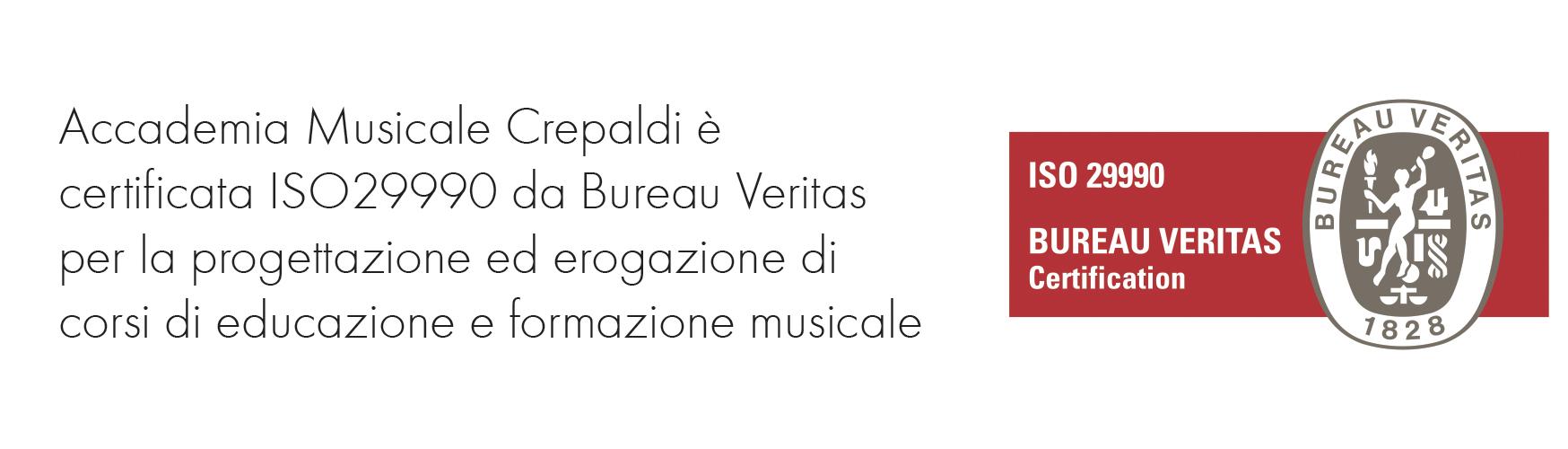 Accademia Musicale Crepaldi è certificata ISO da Bureau Veritas