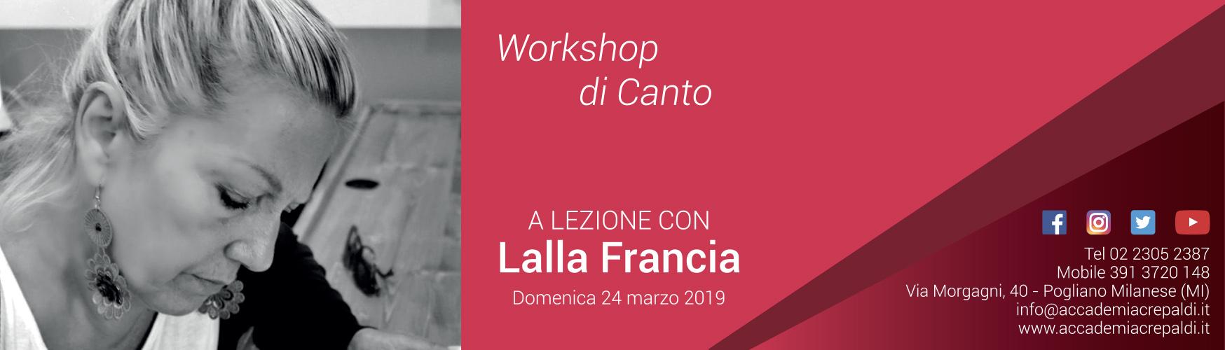 Accademia Musicale Crepaldi presenta il Workshop di canto con Lalla Francia