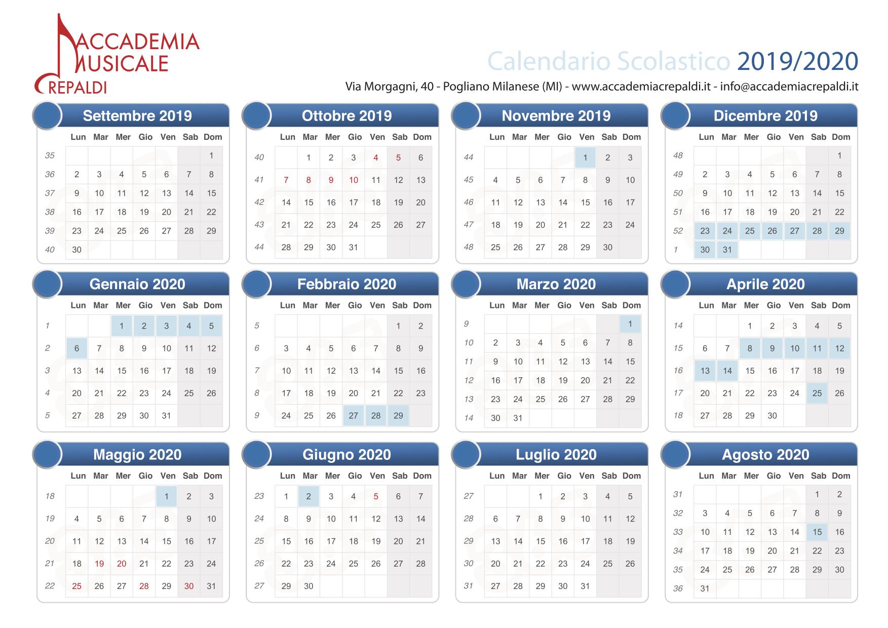 Accademia Musicale Crepaldi - Calendario scolastico 19/20