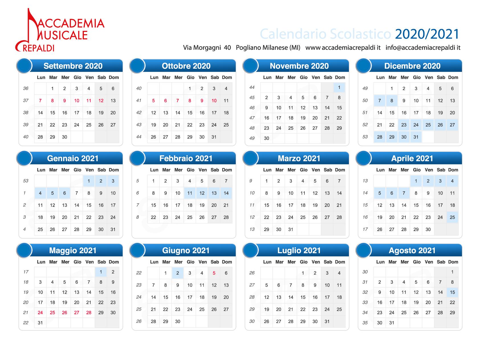 Accademia Musicale Crepaldi - Calendario scolastico 20/21