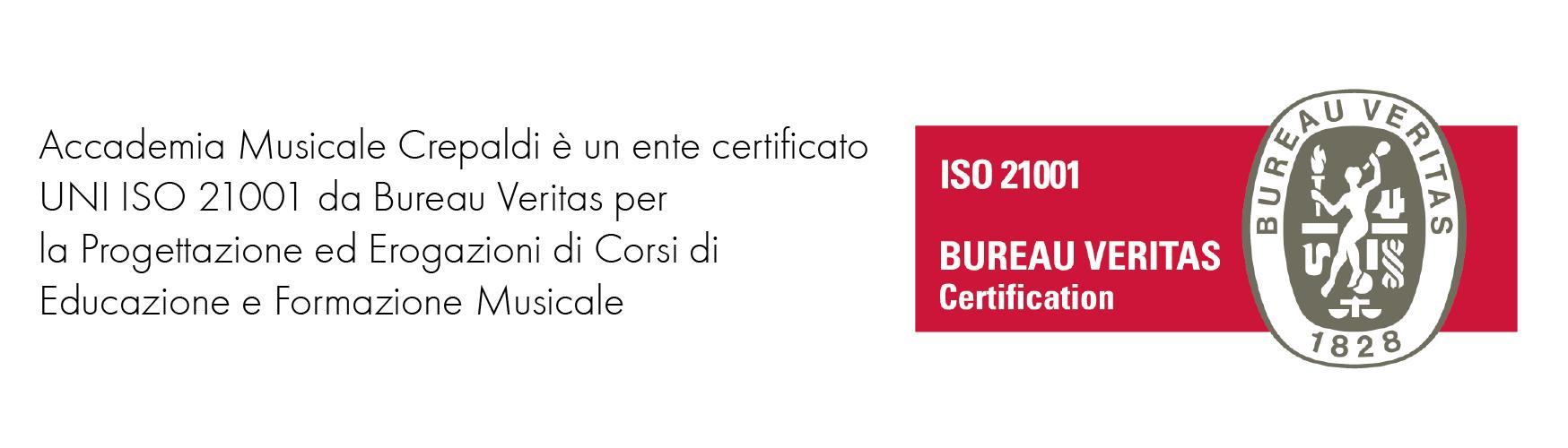 Accademia Musicale Crepaldi è certificata UNI ISO da Bureau Veritas