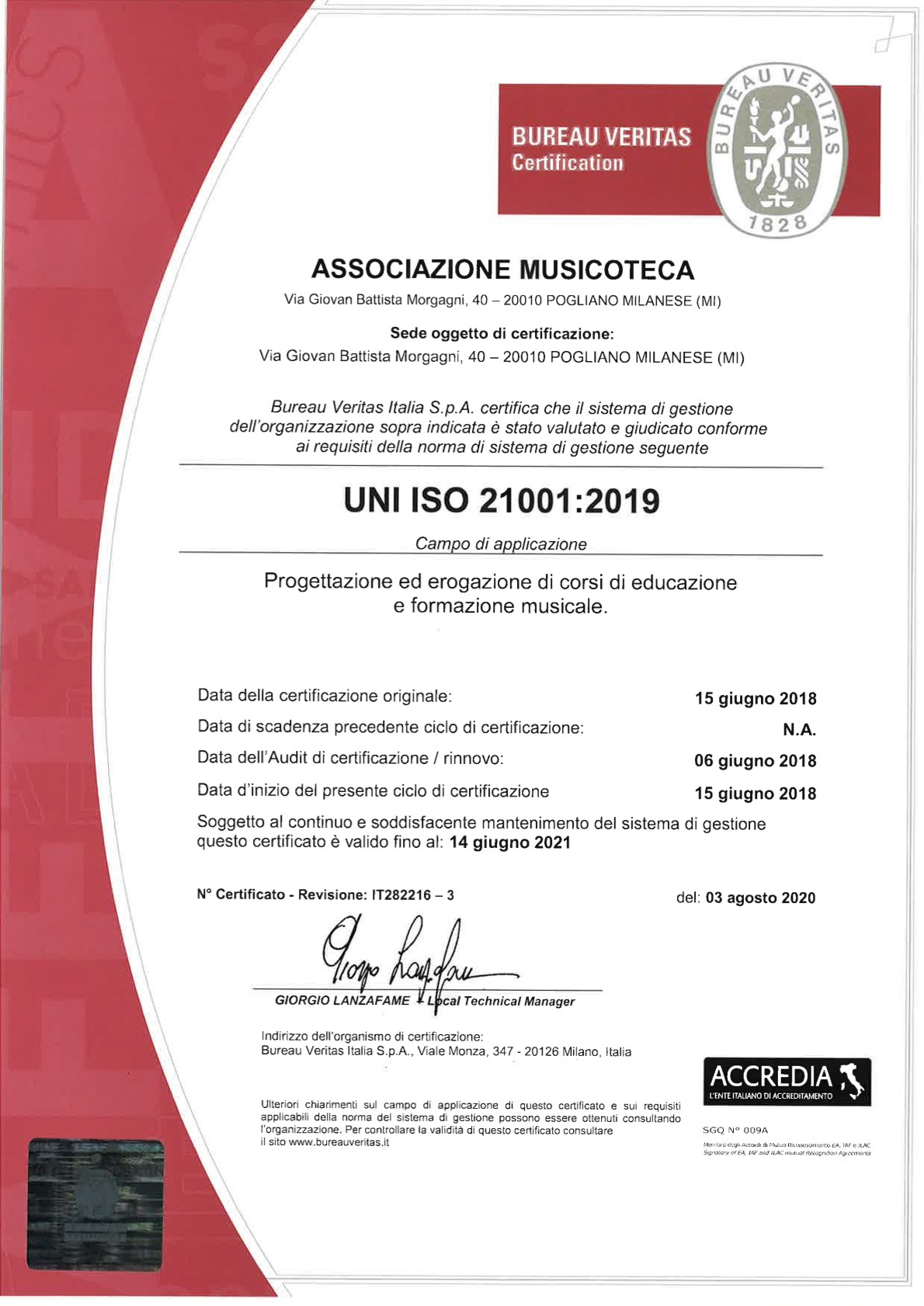 Accademia Musicale Crepaldi - Certificazione UNI ISO 21001:2019