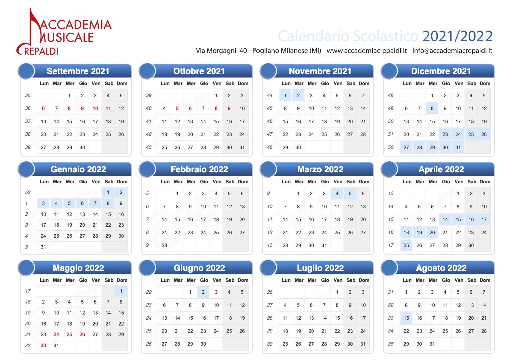 Accademia Musicale Crepaldi - Calendario scolastico 21/22